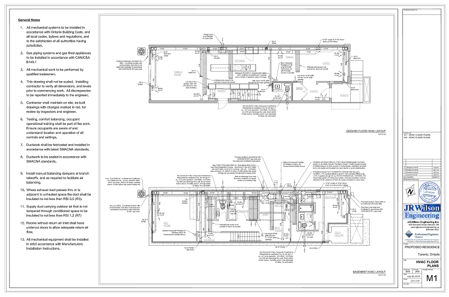 Hvac drawings calculations for residential permit ontario Residential building plan sample
